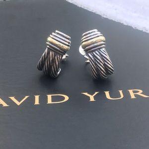 David Yurman 925 14k earrings classic cable design